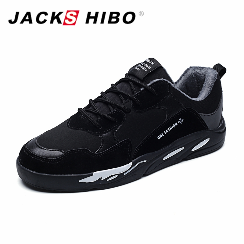 JACKSHIBO Winter Add Fur Sneakers Shoe Men High Quality Mens Shoes Casual Warm Footwear Zapatillas Hombre Casual Male Shoes casual dancing sneakers hip hop shoes high top casual shoes men patent leather flat shoes zapatillas deportivas hombre 61