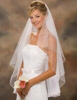 Wedding Veil With Comb Short Ivory White Bridal Veils Cheap Veu De Noiva Curto High Quality