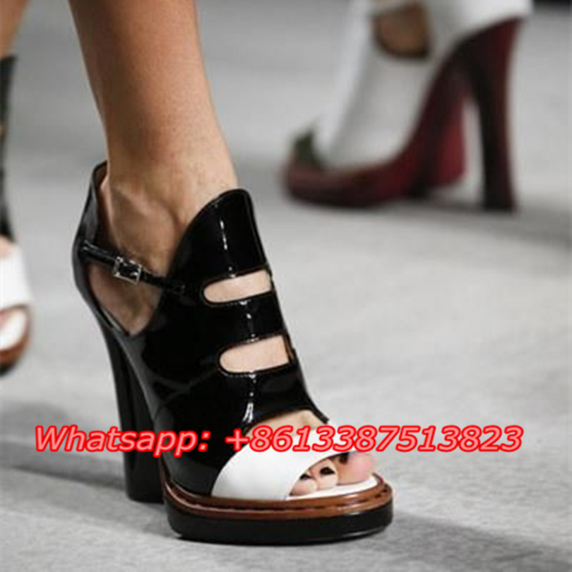 White Black Patent Leather Two-Tone Summer Gladiator Sandals Women Peep Toe Cut-outs Strange Heels Platform Sandals Shoes Woman