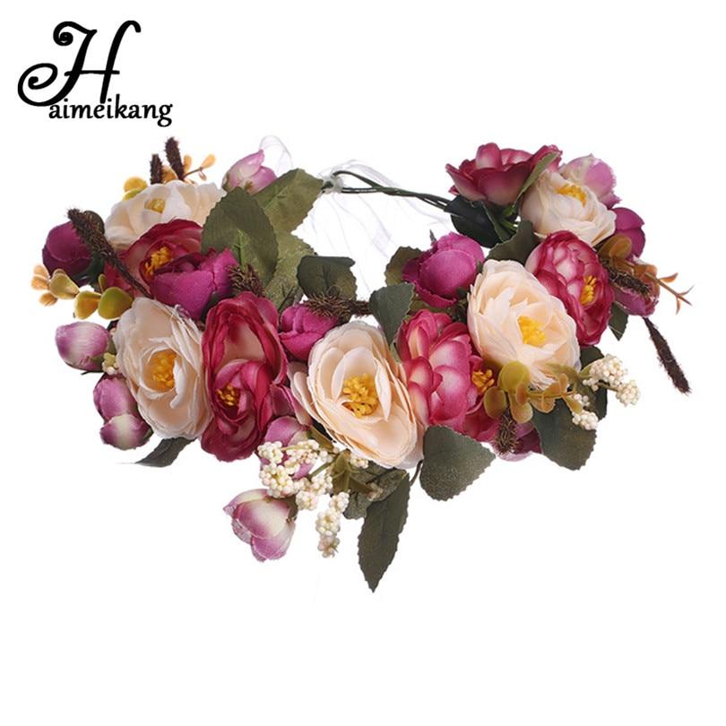 Haimeikang Camellia Flower Garland Wreath of Flowers  Gum Plaiting Women Girls Flower Crown Headbands Wedding Hair Accessories gothic flower crown garland for women
