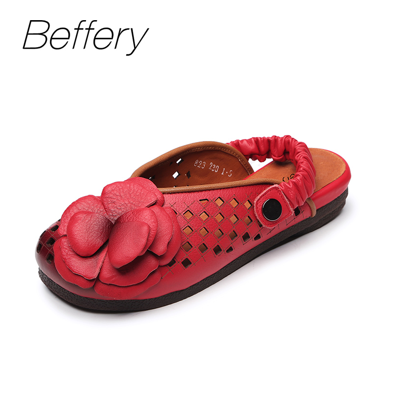 Beffery 2018 New Spring Summer style Genuine Leather Flat Flower decoration Shoes Women Retro Ultra-soft Flats Casual Shoes cresfimix zapatos women cute flat shoes lady spring and summer pu leather flats female casual soft comfortable slip on shoes