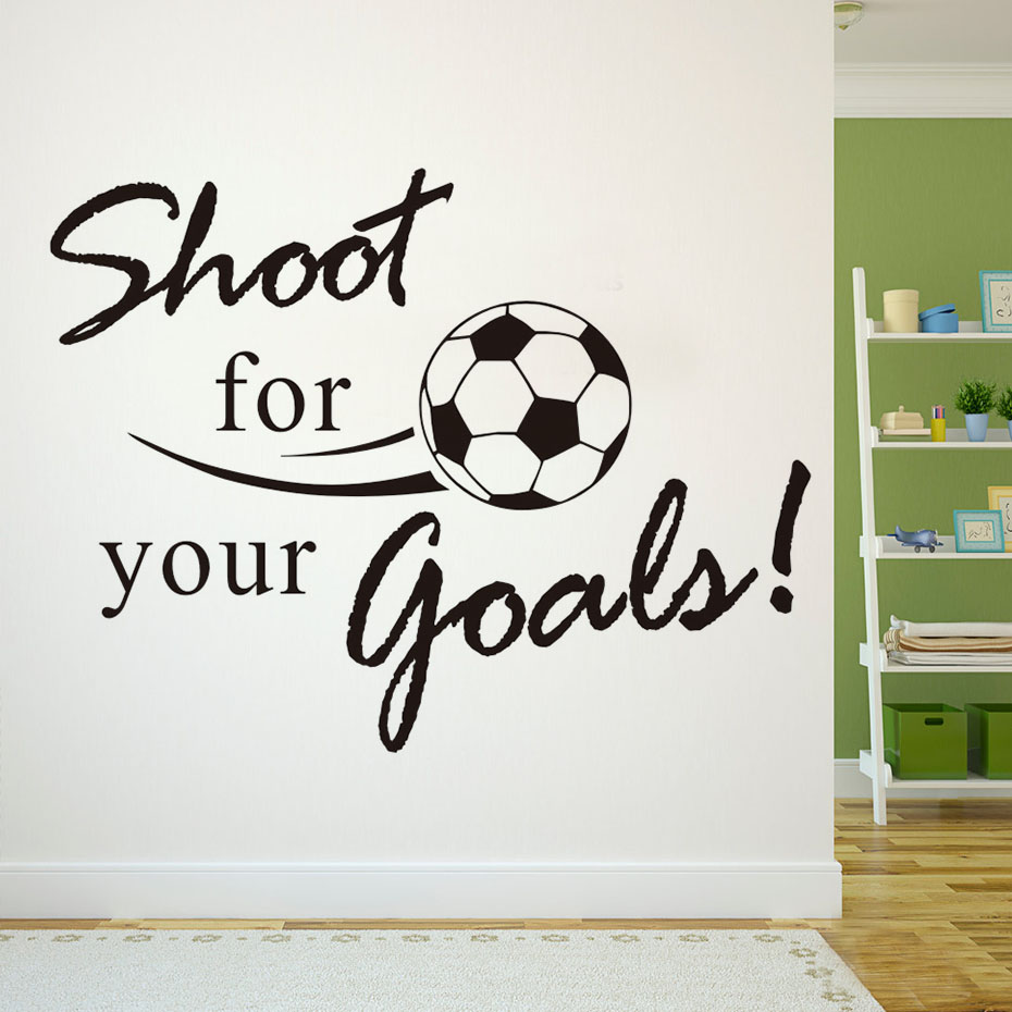 Shoot For Your Goals Soccer Wall Decals Color Black Vinyl Adhesive  Removable Qoutes Art Wall Sticker Living Room Home Decor In Wall Stickers  From Home ...