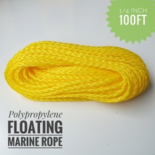 1/4 inch 100ft Lightweight Hollow Polypropylene Floating Anchor Mooring Rope Dock Rope Marine Rope Boat Sailing Rope