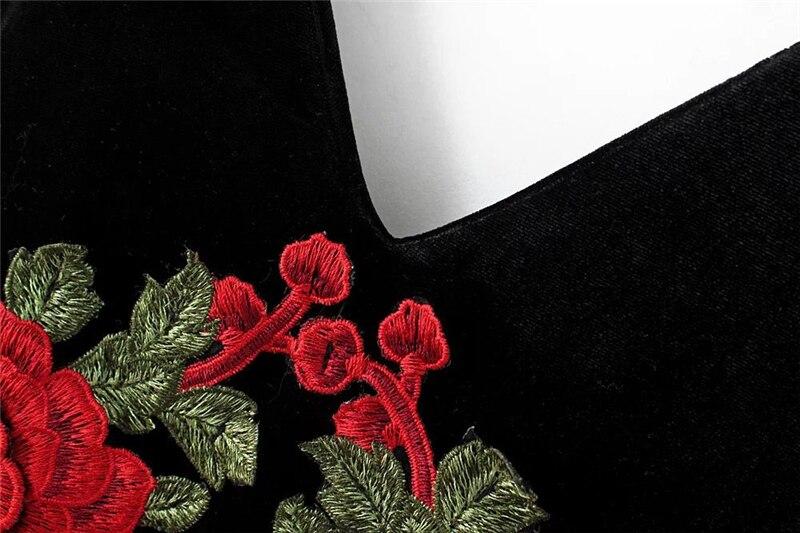 Red Flower Embroidered Black Velvet Shoulder-Straps Bodycon Dress 15