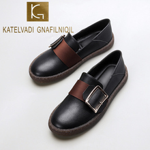 KATELVADI Women Flats Shoes Slip On Casual Ladies Thick Bottom Lazy Loafers Female Black PU K-463