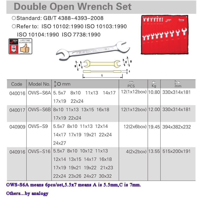 Купить с кэшбэком Jetech universal car wrench set kit double-end open jaw spanner set sizes for machanic automative bike motocycle tool Cr.V steel