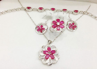 2017 Special Qi Xuan_Fashion Jewelry_Luxury Red Stone Wedding Jewelry Sets_S925 Solid Silver Sets_Manufacturer Directly Sales