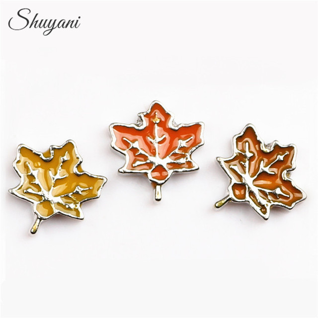 SHUYANI 20pcs/lot Mix Canada Enamel Maple Leaf Charms Maple Leaf Floating Locket Charms for Living Glass Locket