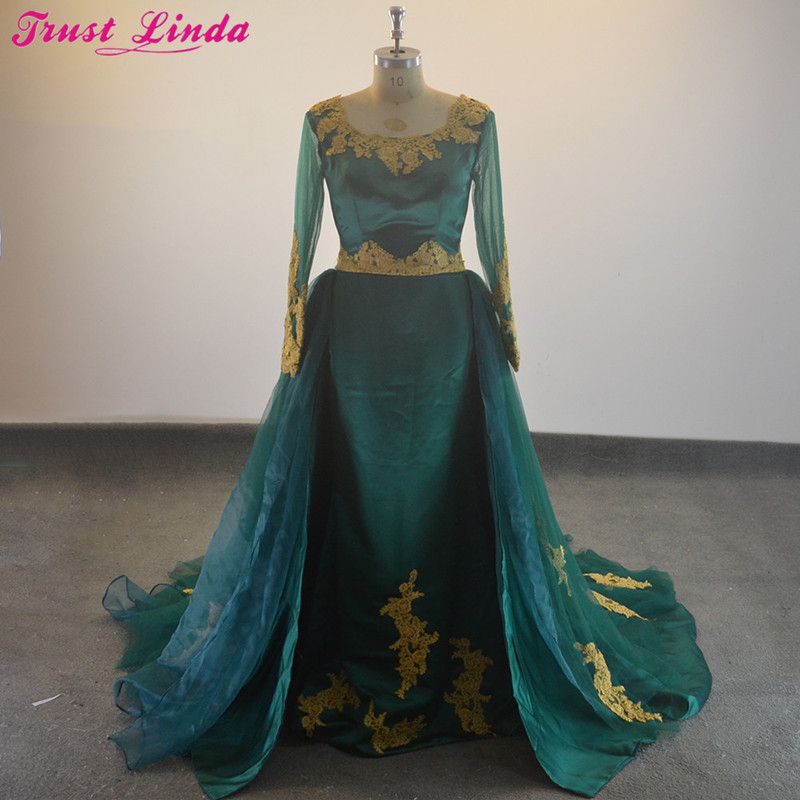 Elegant Scoop Neck Long Sleeves Gold Appliques Detachable Train Mother dresses 2018 Gorgeous Lace Up Green Formal Evening Gowns