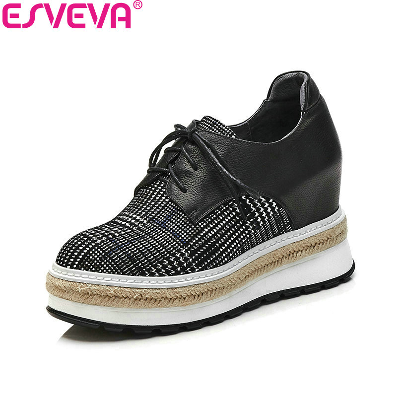 ESVEVA 2018 Women Pumps Height Increasing Shoes Cow Leather PU Western Style High Heels Round Toe Platform Shoes Size 34-42 20cm high height sex shoes pu platform hoof heels high heels no wg10b