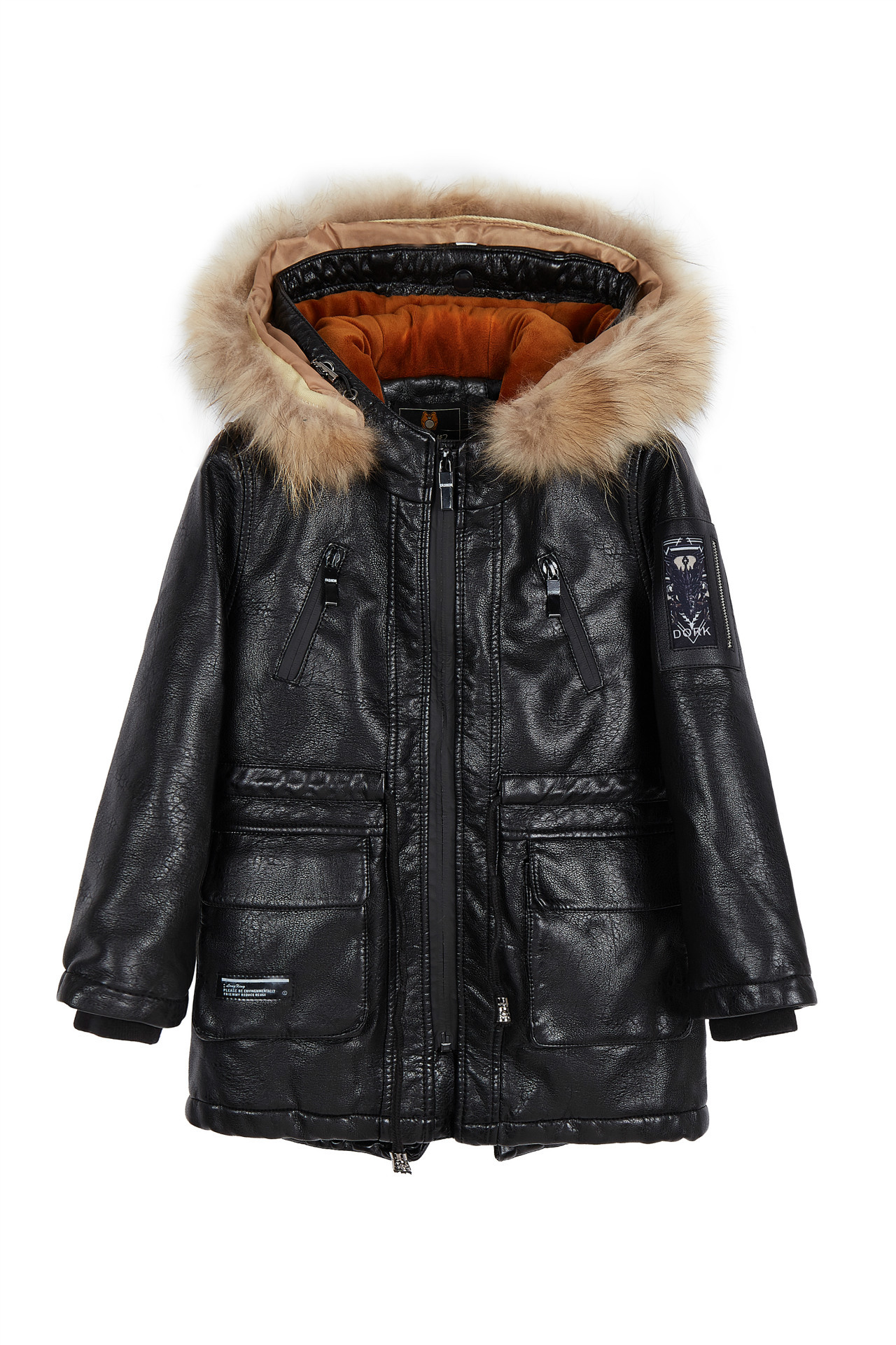Custom Boys thicker leather coat fall and winter new children's clothing big boys and velvet in the long section winter new down jacket women 2017 oversized luxury fur collar thicker coat in the long section of 20 30 40 years old