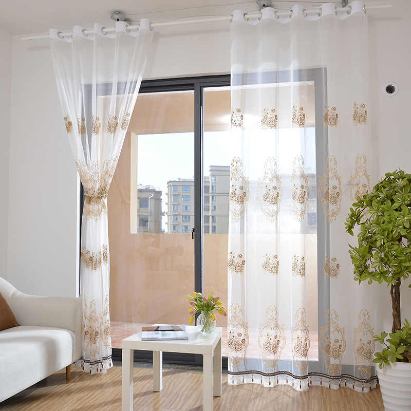 Curtains For Living Dining Room Bedroom European Gold Silk Scandinavian Embroidered Curtain Yarn