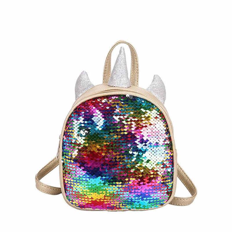 Мини-рюкзак Для женщин модные блесток Единорог маленькая сумка через плечо для девочек подростков кожанные сумки для студентов, школьные рюкзаки, сумки для путешествий