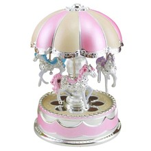 Merry-Go-Round Carousel Music Box Toy Swivel Glowing Carousel Horse Electronic Music Box Wedding Birthday Gifts Home Decor(China)
