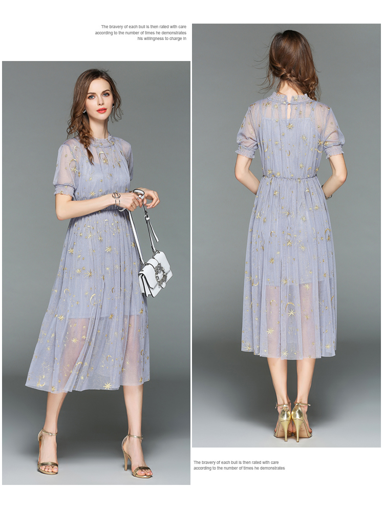 Fairy Summer Gauze Embroidered Dress Robe Ete 2018 Women Two Piece Midi Party Dress Vestiti Donna Sukienki Damskie K3288 4