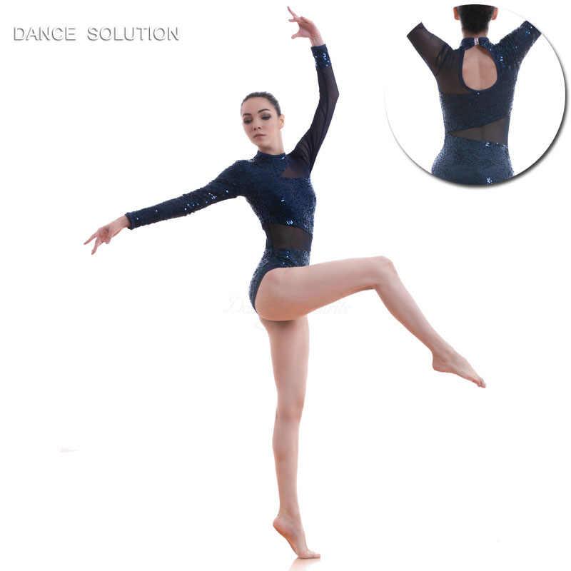 72400d3d6 Navy Blue Sequin Lace Bodice Ballet Costume Lyrical & Contemporary Dance  Dress Mesh LeotardWomen & Girl