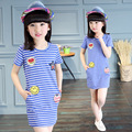 Cotton Navy Striped Long T-Shirt Dress Girl 2016 Summer Short Sleeve Embroidery Straight Pencil Girls Dress Casual