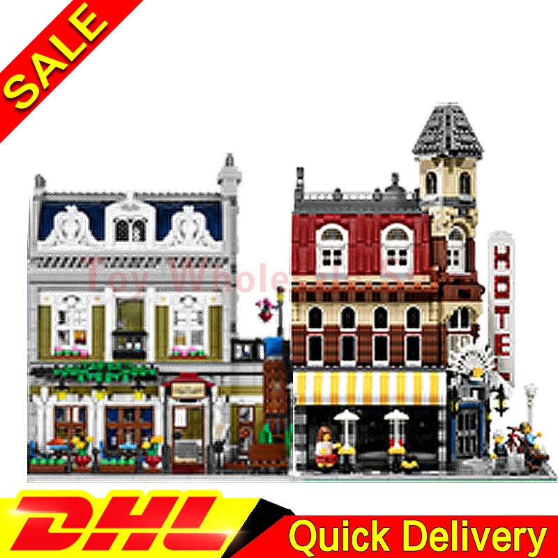 Lepin 15002 Cafe Corner + Lepin 15010 Parisian Restaurant City Street Model Building Blocks Bricks Kits lepins Toy 10182 10243 dhl new 2418pcs lepin 15010 city street parisian restaurant model building blocks bricks intelligence toys compatible with 10243