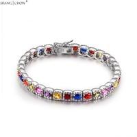Pink Kunzite, Garnet, Yellow Quartz, Purple Quartz, Blue Stone 925 Sterling Silver Colorful Bracelet for women Birthday B0056