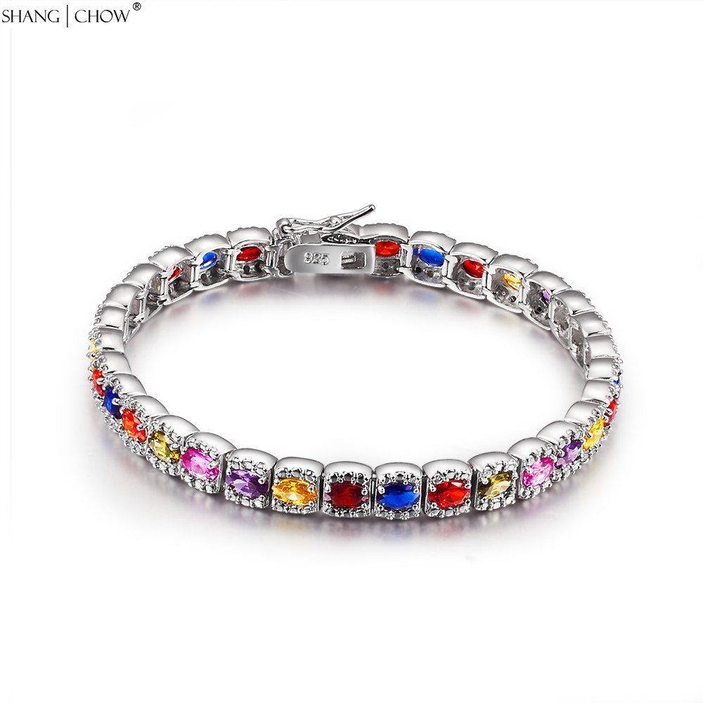 Pink Kunzite, Garnet, Yellow Quartz, Purple Quartz, Blue Stone 925 Sterling Silver Colorful Bracelet for women Birthday B0056