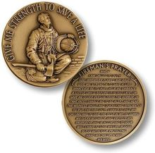 Firefighter in Prayer - Spanish Challenge Coin - Bronze Challenge Coin, free shipping, 5pcs/lot стоимость