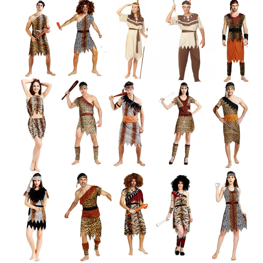 <font><b>Men</b></font> Women African Original Savage <font><b>Costume</b></font> Wild <font><b>Men</b></font> Cosplay Carnival Fancy Dress Party <font><b>sexy</b></font> <font><b>halloween</b></font> <font><b>costumes</b></font> for women image