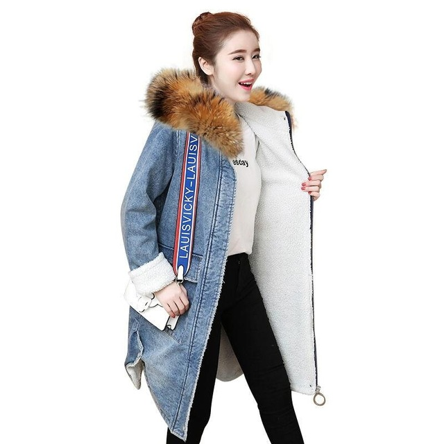 00dda88eb Hot Sale Fashion Winter Lamb Wool Denim Jacket With Fleece Hooded ...