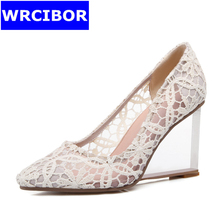 Big Size 33-41 NEW 2017 Woman Pumps Lace pointed toe High-heeled shoes Comfortable transparent wedges High heels women