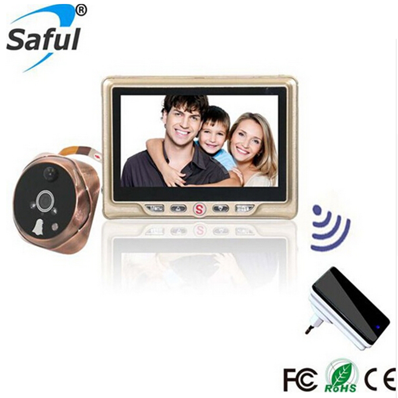 Saful Wireless 4.3LCD Visual Monitor Digital Doorbell Peephole Viewer Night Vision Function Door Camera Home Sercurity image