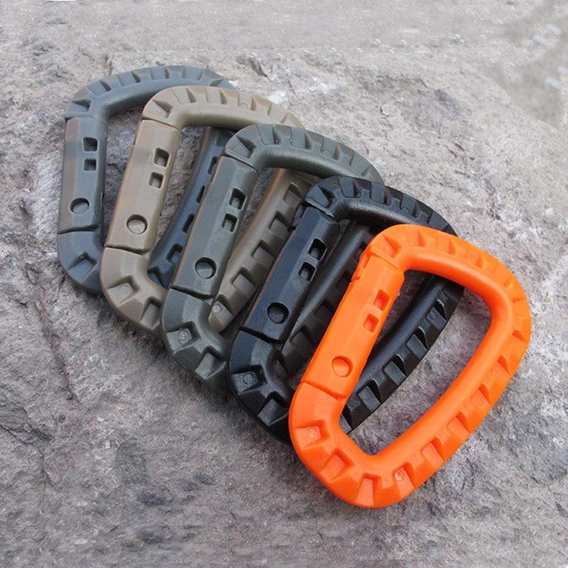 100 pièces/lot tactique haute résistance d-ring fermoir Clip crochet boucle porte-clés Camping randonnée escalade alpinisme mousqueton