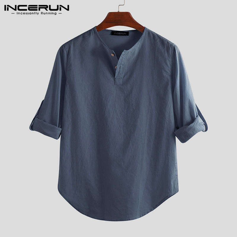 HTB12lgSaeL2gK0jSZFmq6A7iXXaM - INCERUN Fashion Men Shirt Long Sleeve Cotton Solid Casual Basic Shirt Men Tops