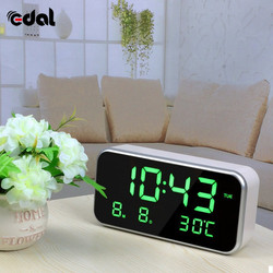 Fashion Radio Clock Mini Fashion Home Clock LED Mirror Light Date Work Remind 25 Famous World Music