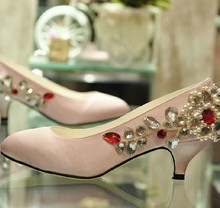 Luxurious Sexy Pink Satin Bridal Wedding Dress Shoes Women's Rhinestone Pumps Dress shoes Bridal shoes Lady Fashion Shoes