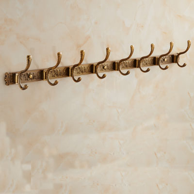 8 robe hooks door retro European, Kitchen / bathroom towel hooks on the wall , Copper hook  for  hanging clothes,Free Shipping antique basket bathroom shelf european copper hanging pendant bathroom cosmetic towel rack with hooks bathroom accessories ac