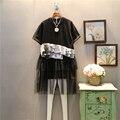 [XITAO] 2017 tailândia primavera maré rua moda feminina gola redonda patchwork hem malha solta pulôver de manga curta dress abb030