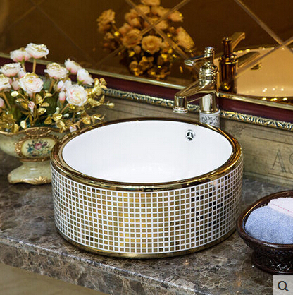 Jingdezhen Keramik Bühne Becken Chrom Badezimmer Behälter Wannen ...