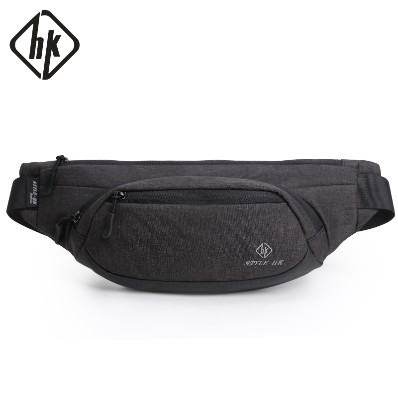 Hk Fanny Pack Men Black Waterproof Waist Bags For Men Fashion Cigarette Phone Case Money Belt For Travel Security Wallet Purse