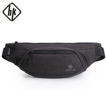 Hk Fanny Pack Men Black Waterproof Waist Bags for Men Fashion Cigarette Phone Case Money Belt for Travel Security Wallet Purse