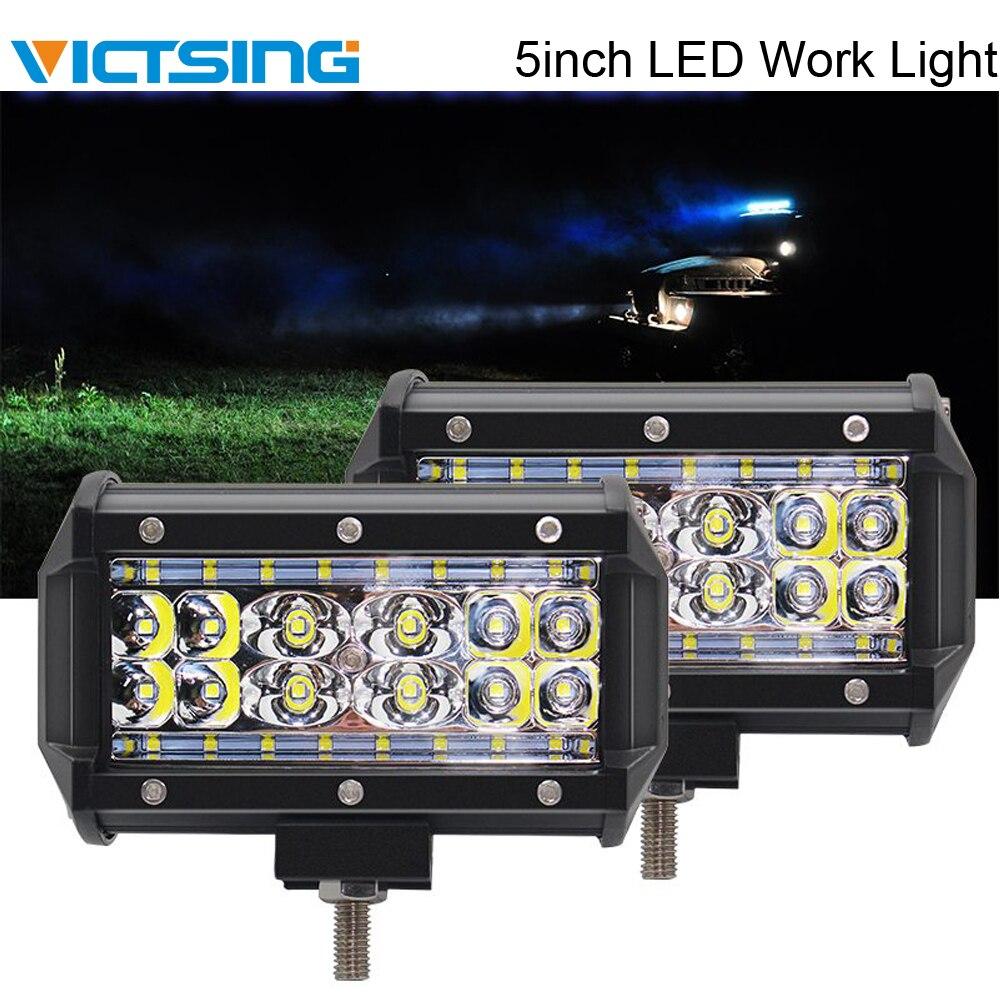 VicTsing 2 pièces LED barre de lumière de travail Spot lumière d'inondation cosses Quad Row conduite tout-terrain 4WD pour tracteur 12 V voiture LED barre de lumière de travail