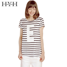 HYH Fashion Women Lady Clothing T-Shirts Tops Loose Striped Cotton Brief Short Sleeve T Shirt Casual Tee Summer