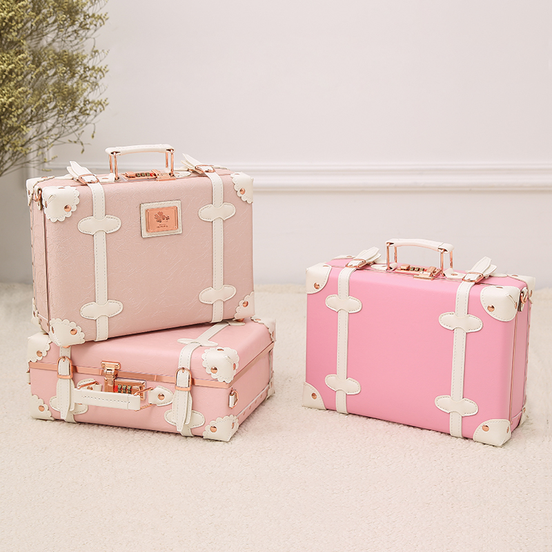 2018 NEW childrens suitcase kids luggage small suitcase pink hand bags striped pu pp material high quality brand 12 inch