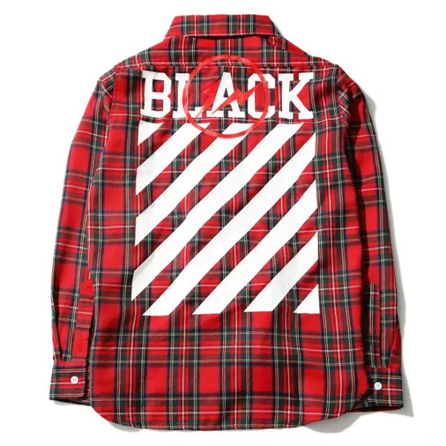 c246b75401199c OFF WHITE X Fragment Design striped shirt men Kanye West new vestidos OFF  BLACK c o VIRGIL ABLOH Justin Bieber flannel shirts-in T-Shirts from Men s  ...