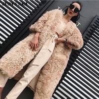 Kobiety X-długo Owiec Futro Płaszcz zimowy znosić mody kobiet kurtki ciepłe w zimie zimno nowy przyjeżdża futro płaszcz