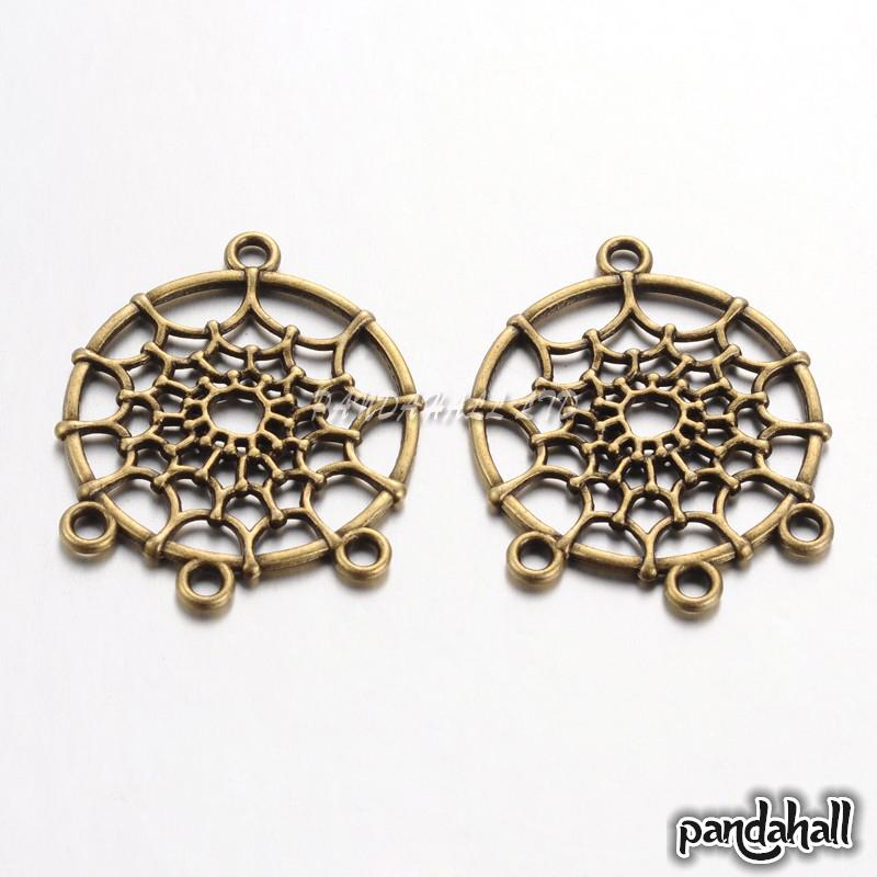 Tibetan Style Chandelier Components Links, Lead Free & Cadmium Free & Nickel Free, Flat Round with Web, Antique Bronze,