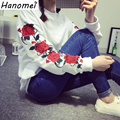 Harajuku Moletom Long Sleeve Sudaderas Mujer 2017 Loose Hoodie Sweatshirt Floral Print Moleton Fleece Women's Sweatshirt C355