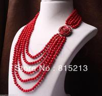 6 7mm red coral bead beaded multi 5 row carved rose flower necklace