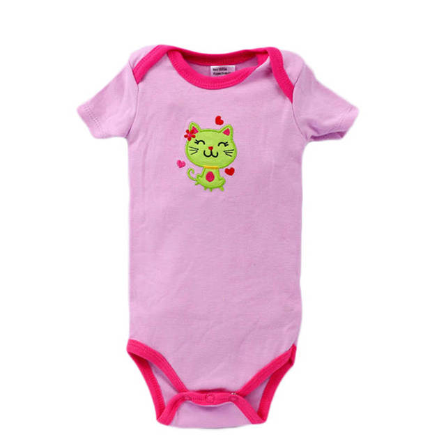 5803ca39c0cf Girls Top Quality Baby Rompers Short Sleeve Cotton Cartoon O Neck 3 ...