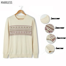 Markless O-neck Pullover Sweater Men 100% Cotton Pullover Men Winter Warm Print Christmas Sweaters pull homme sueter hombre