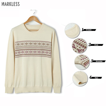 Markless O-neck Pullover Sweater Men 100% Cotton Pullover Men Winter Warm Print Christmas Sweaters pull homme sueter hombre markless o neck sweater men 100% cotton winter warm stripe sweaters pullover men christmas pull homme sueter hombre msa3710m