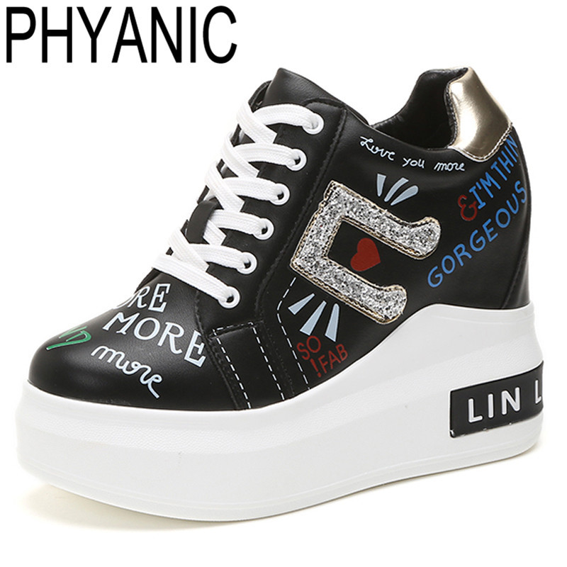 PHYANIC Fashion Sneakers Wedge Heel Shoes Woman Breathable Shoes High Top Casual Graffiti Outdoor Shoes